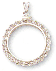rope screwtop sterling silver coin bezel pendant
