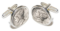 Sterling Silver Coin Bezel Cuff Links Cufflinks