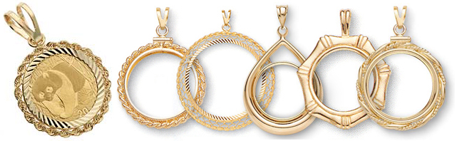 14K Gold Bezel Coin Pendants