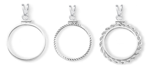 14K White Gold Coin Bezel Pendants