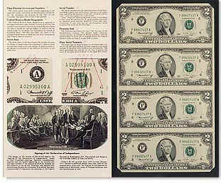 2 two dollar uncut currency sheets