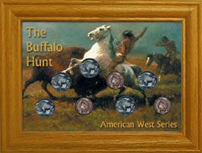 The Buffalo Hunt Frame with Coins